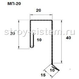 Планка заборная для профнастила МП20 RAL 9006
