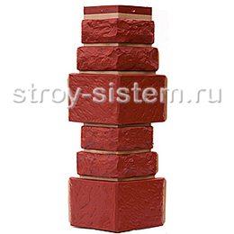 Угол наружный для фасадных панелей Т-Сайдинг Дикий камень красный