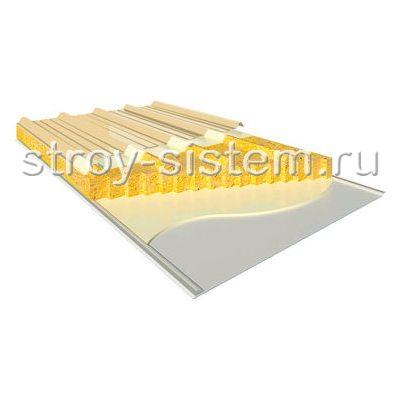 Кровельные сэндвич-панели с базальтовым наполнителем 100 мм RAL 1014/RAL 9002