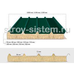 Кровельные сэндвич-панели с базальтовым наполнителем 250 мм RAL 6005/RAL 9002