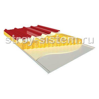 Кровельные сэндвич-панели с базальтовым наполнителем 100 мм RAL 3011/RAL 9003