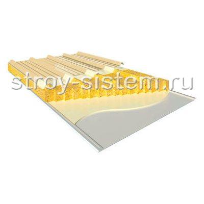 Кровельные сэндвич-панели с базальтовым наполнителем 100 мм RAL 1014/RAL 9003